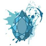 Beautiful blue diamonds shapes on blue watercolor background. Stock Photo