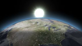Beautiful Blue Earth - From Night To Day. On the black sky the sun rises above the ground. The sun illuminates the continent of North America. The rising sun royalty free illustration