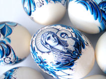 Beautiful blue easter eggs royalty free stock photography