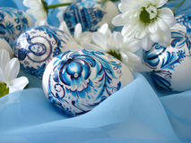 Beautiful blue easter eggs Royalty Free Stock Photo