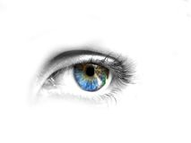 Beautiful blue eye. With colorful reflection Stock Photo