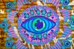 Beautiful blue eye graffiti Stock Photos