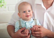Beautiful blue-eyed baby. Smile stock image