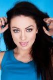 Beautiful Blue Eyed Brunette Stock Photos
