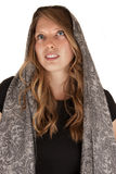Beautiful blue eyed brunette woman in gray scarf Royalty Free Stock Photography