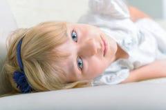 Beautiful blue eyed girl stock photos