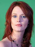 Beautiful Blue-Eyed Redhead Stock Photo