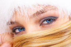 Beautiful blue eyes. The blonde with blue eyes Royalty Free Stock Images