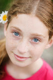 Beautiful blue eyes. Beautiful teen aged girl with blue eyes and freackles Royalty Free Stock Photography