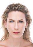 Beautiful, blue eyes, blonde woman portrait, white. Wet haired blonde woman portrait closeup, white background, fill light Royalty Free Stock Photo