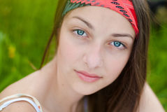 Beautiful blue eyes teenage girl portrait outdoors Royalty Free Stock Image