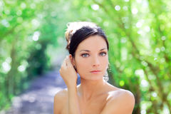 Beautiful blue eyes woman outdoor park Stock Images