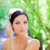 Beautiful blue eyes woman outdoor park Royalty Free Stock Photo