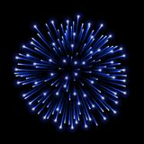Beautiful blue firework. Bright salute  on black background. Light blue decoration firework for Christmas, New. Year celebration, holiday, festival, birthday Stock Photography