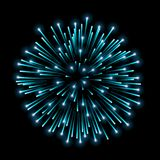 Beautiful blue firework. Bright salute isolated on black background. Light blue decoration firework for Christmas, New. Year celebration, holiday, festival Royalty Free Stock Photography