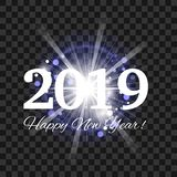 Beautiful blue fireworks with a bright flash of light and the words Happy New Year 2019. On a transparent background. Eps 10 vector stock illustration