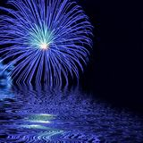 Blue Fireworks with Water Reflection Abstract Royalty Free Stock Image