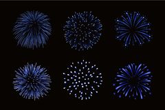 Beautiful bright fireworks set  on black background. Beautiful blue fireworks set. Bright fireworks  black background. Light blue decoration fireworks for Royalty Free Stock Photography