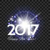 Beautiful blue fireworks with  words Happy New Year 2017! on a t Stock Photos