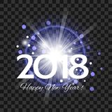 Beautiful blue fireworks with  words Happy New Year 2018 on a tr. Beautiful blue fireworks with a bright flash of light and the words Happy New Year 2018 on a Royalty Free Stock Photos