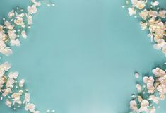 Beautiful Blue Floral Spring Background. Beautiful and peaceful spring flower blossoms against a blue background. Image shot from top view royalty free stock image