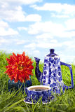 Beautiful blue floral Teapot, cup Stock Photo