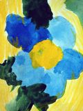 Blue flower painted on white paper stock photos