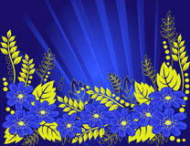 Beautiful blue flowers on a blue background.  Royalty Free Stock Images