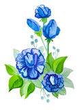 Beautiful blue flowers with leaves Stock Photography