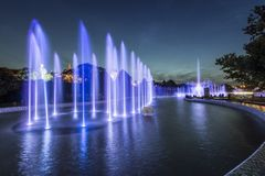Beautiful blue fountains at night Stock Image