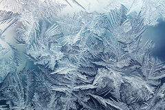 Beautiful blue frosty pattern on glass Stock Images