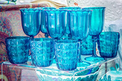 Beautiful blue glasses. Set of beautiful blue glasses in the shop royalty free stock photography