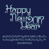 Beautiful blue gradient curly font. Isolated english alphabet. And text lettering Happy New 2017 Year. Capital and lowercase letters with numbers and Stock Photo