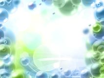 Beautiful blue and green bubbles frame Stock Photography