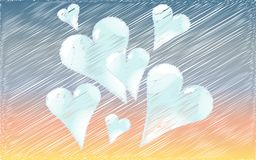 Beautiful blue hearts drawn in a shaded style against the background of dawn. Vector illustration Stock Photography