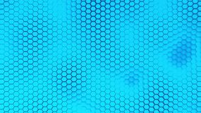 Beautiful blue hexagrid background with slow waves motion. Loop stock footage
