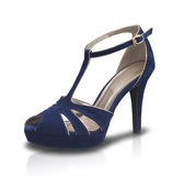 Beautiful blue high heel lady fashion shoe isolated Stock Photo