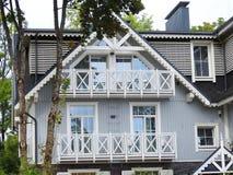 Beautiful blue home and balcony , Lithuania stock image