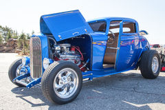Beautiful Blue Hot Rod with Chrome Royalty Free Stock Image
