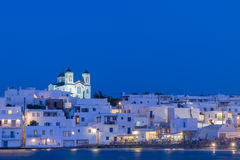 Beautiful blue hour of local church of Naoussa village at Paros island. Stock Photography