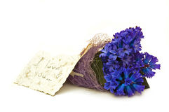 Beautiful blue hyacinth. Hand made card with bouquet of flowers stock photo