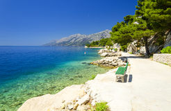 Beautiful blue lagoon in Brela, Makarska riviera, Dalmatia, Croatia Stock Photos