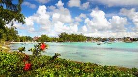 Tropical Island Mauritius Blue Lagoon stock image