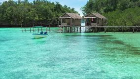 Beautiful Blue Lagoone with some Bamboo Huts, Kordiris Homestay, Palmtree in Front, Gam Island, West Papuan, Raja Ampat. Indonesia stock video footage