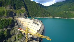 Beautiful blue lake on a dam, a hydroelectric power station stock footage