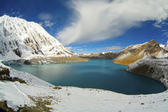 Beautiful blue lake in high altitude Royalty Free Stock Images