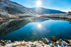 Beautiful blue lake in the mountains Royalty Free Stock Photos