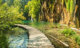 Beautiful blue lake and waterwalls in plitvice national park stock photo