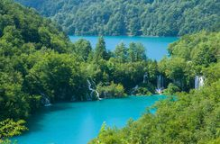 Beautiful blue lake and waterwalls in plitvice national park stock photos