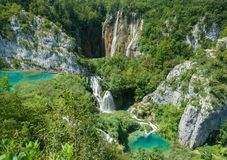 Beautiful blue lake and waterwalls in plitvice national park royalty free stock image